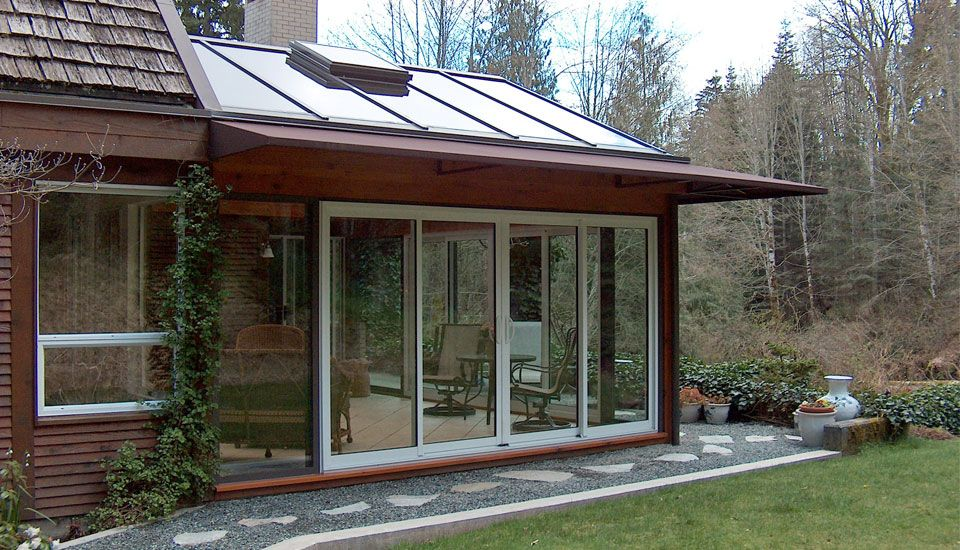 attached sunroom with window wall