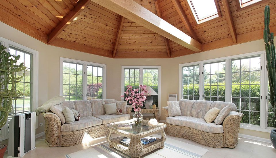 sun room with skylight