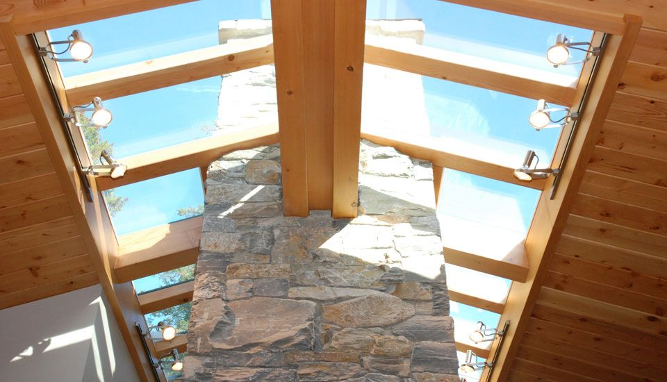 skylight with wood ceiling