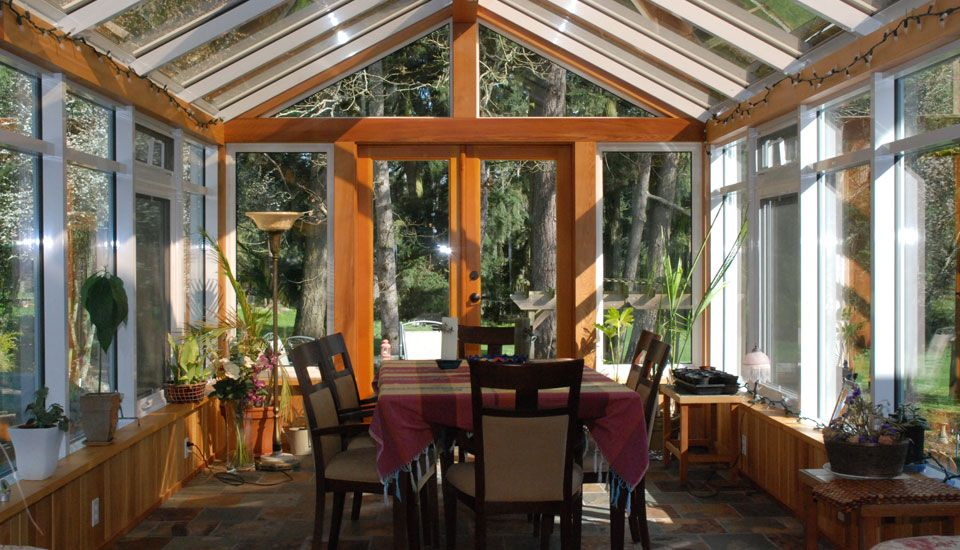 sun room in with wood frame